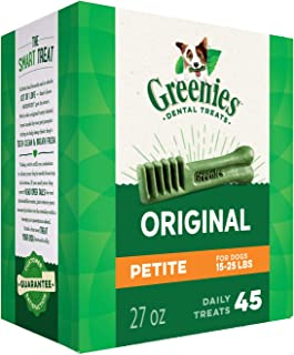 Greenies Dog Dental Chews Dog Treats - Petite Size (15-25 lb Dogs)