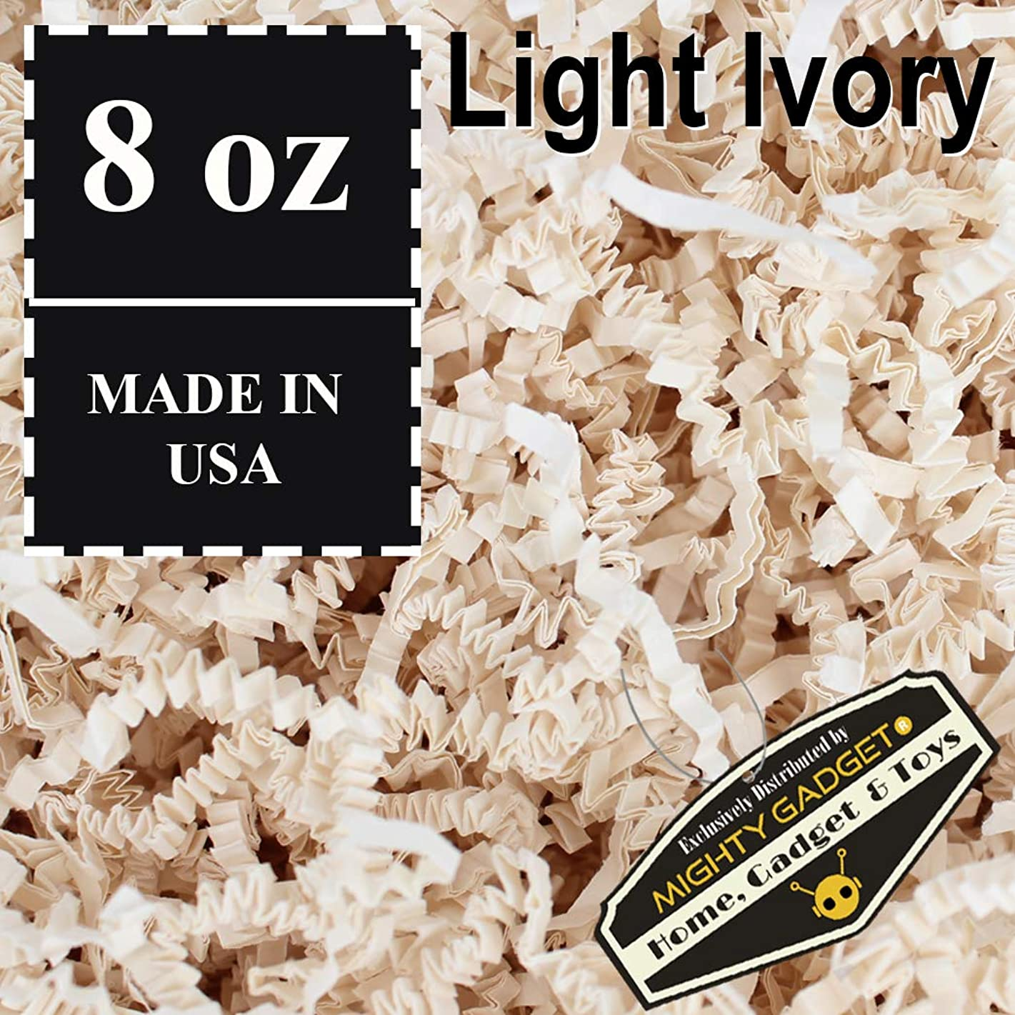 Mighty Gadget (R) 1/2 LB Light Ivory Crinkle Cut Paper Shred Filler for Gift Wrapping & Basket Filling