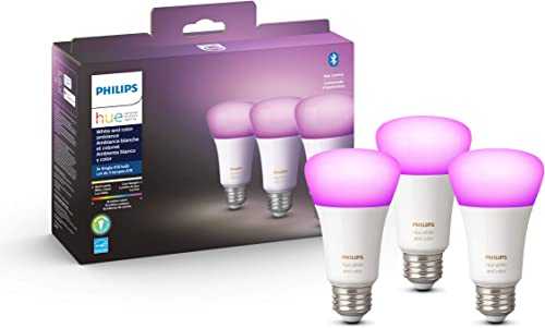 Philips Hue White and Color Ambiance 3-Pack A19 LED Smart Bulb, Bluetooth & Zigbee Compatible (Hue Hub Optional), Wor...