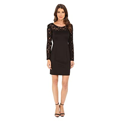 Jessica Simpson Scuba Dress with Lace Long Sleeves (Black) Women