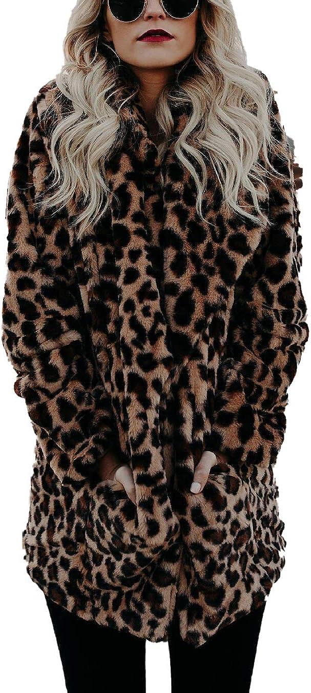 Women Leopard Faux Fur Outwear Classic Button Down Fleece Jacket Fluffy Coat
