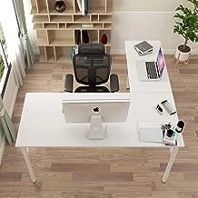 DlandHome L-Shaped Desk Large Corner Desk Folding Table Computer Desk Home Office Table Computer Workstation, White DND-ND11-WW