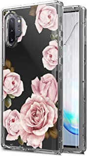 AMPURSQ Case for Galaxy Note 10+, Galaxy Note 10 Plus 5G Case, Clear Floral Three Layer Heavy Duty with Rugged Hard PC and TPU Bumper Armor Phone Cover for Samsung Note 10 Plus 6.8 inch (Clear Floral)