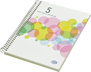 FIS 5 Color Spiral Hard Cover Notebook, 100 Sheets, Single Ruled, 80 gsm, 5 Assorted Colors Paper, Micro Perforation, 6 Pu...