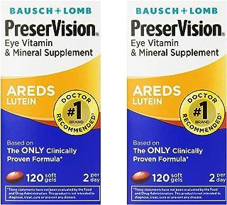 PreserVision AREDS Lutein Eye Vitamin & Mineral Supplement, Beta-Carotene Free, Soft Gels, 120 ct - 2 Pack