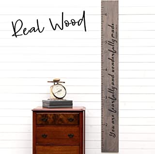 Giant Ruler Wooden Height Chart   Wood Growth Chart for Babies, Kids, Boys & Girls   Baby Shower Gift   Fearfully and Wonderfully Made on Gray
