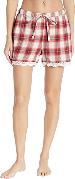 Soft Shadow Plaid PJ Boxer with Lace Hem