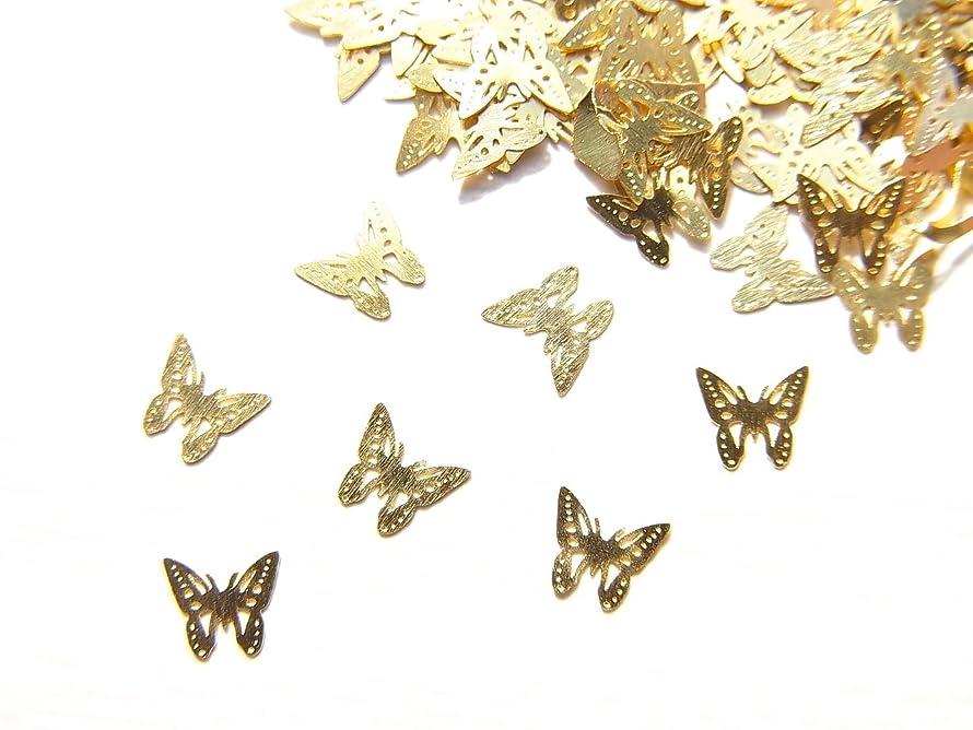 鉱夫火炎ディプロマ【jewel】ug24 薄型ゴールド メタルパーツ Sサイズ バタフライ 蝶 A 10個入り ネイルアートパーツ レジンパーツ