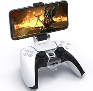 Clip Mount for PS5 DualSense Wireless Controller, YUANHOT Mobile Phone Clamp Bracket Holder with Adjustable Stand for Play...
