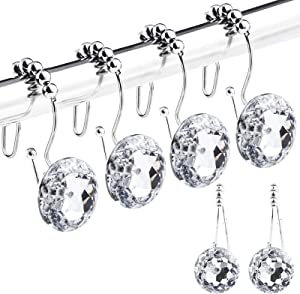 GENNISSY 12PCS/Set Shower Curtain Hooks for Bathroom Stainless Steel Shower Ring Hangs Waterproof Round Crystal Hook for Curtains, Shower Curtains, Clothes, Indoor Decor, Wall Hanging