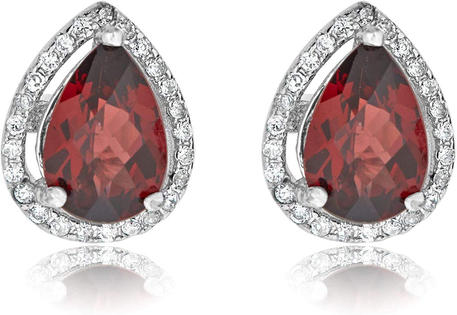 AVORA Be super welcome 925 Sterling Silver OFFicial shop Pear-shaped D Garnet Genuine Simulated