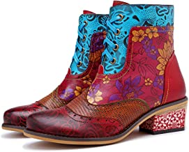 CrazycatZ Womens Bohemian Splicing Flower Pattern Lace up Block Heel Leather Boots