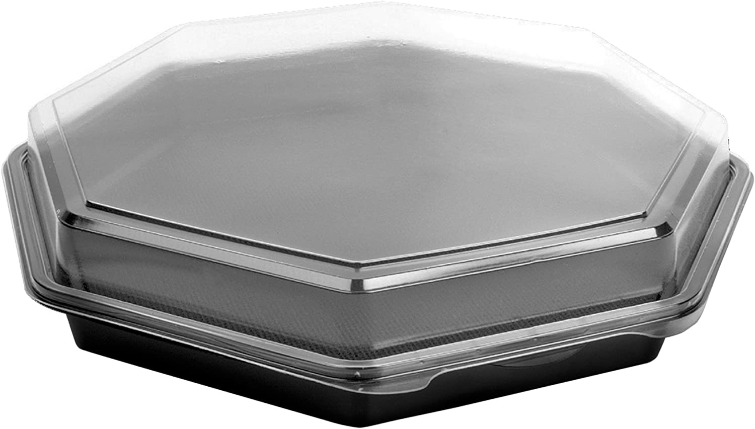 Solo 863611-PS94 12 in Black Clear PS Plastic Hinged Container, 12.47 X 12.01 in (Case of 100)