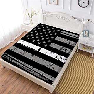 Oliven American Flag Fitted Sheet Full Size Black White 1 Piece Deep Pocket Sheet Elastic Sheet Full