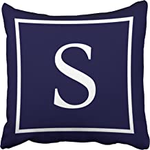 Tarolo Decorative Customize Monogram on Navy Blue Pillow Personalized Monogram S Cotton Throw Pillow Case Decor Cushion Covers Size 16x16 inches(40x40cm) One Sided
