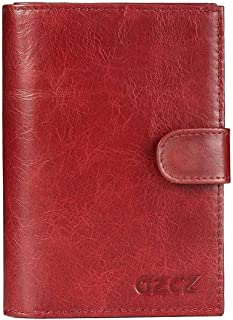 Mens Leather Bag Women's Wallet Leather Multi-Functional Card Wallet Fashion Zipper Buckle Passport Bag Bag (Color : Red, Size : S)