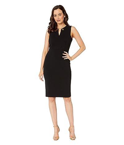 Calvin Klein Sheath Dress with Hardware Detail at Neck (Black) Women