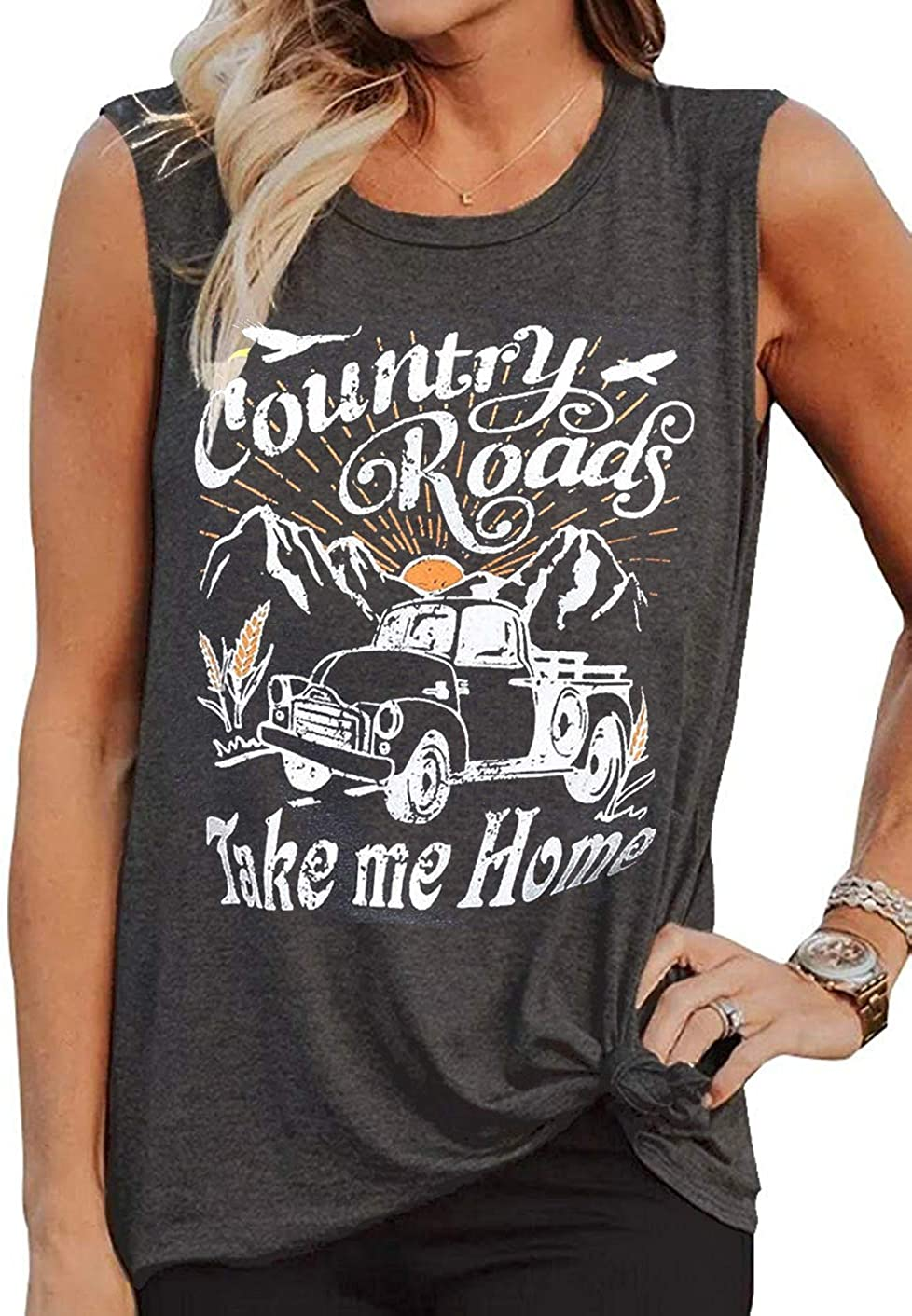 Women Country Shirt Country Roads Take Me Home Funny Country Music T Shirt Cute Vintage Graphic Tees Sleeveless Blouse