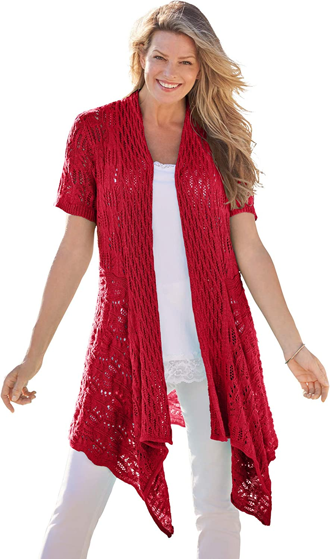 Woman Within Women's Plus Size Pointelle Open Cardigan