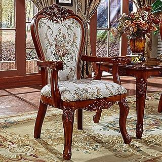 L-WSWS Comer labrada silla de estilo europeo Sillón de madera americana Tela Respaldo cena la silla simple taburete de Asamblea 2 Piezas for las sillas de la cocina del hogar (Color: Marrón, Tamaño: 5