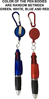 4 Ink Colors Ballpoint Pen with Retractable Reel Holder, Belt Clip and Carabiner, Pack of 2