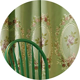 Girl21 European Embroidered Faux Line Fancy Blackout Curtains for Living Room Window Curtains for Bedroom Blue/Green Curtain,1 Piecegreen Curtain,Custom Size,Rod Pocket