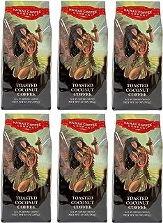 Hawaii Coffee Company, Toasted Coconut Flavor, Ground Coffee, 10oz Bag (Six Bags)