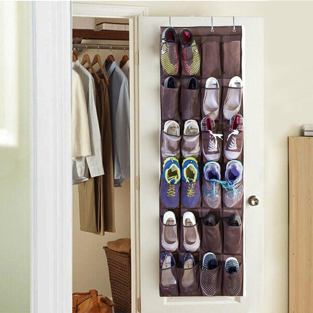 24 Pockets Over Door Hanging Bag Box Shoe Rack Hanger Storage Tidy Toy Organiser