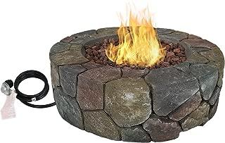 Sunnydaze Cast Stone Propane Gas Fire Pit Heater with Lava Rocks - 30-Inch Backyard Outdoor Patio and Backyard Fireplace Kit