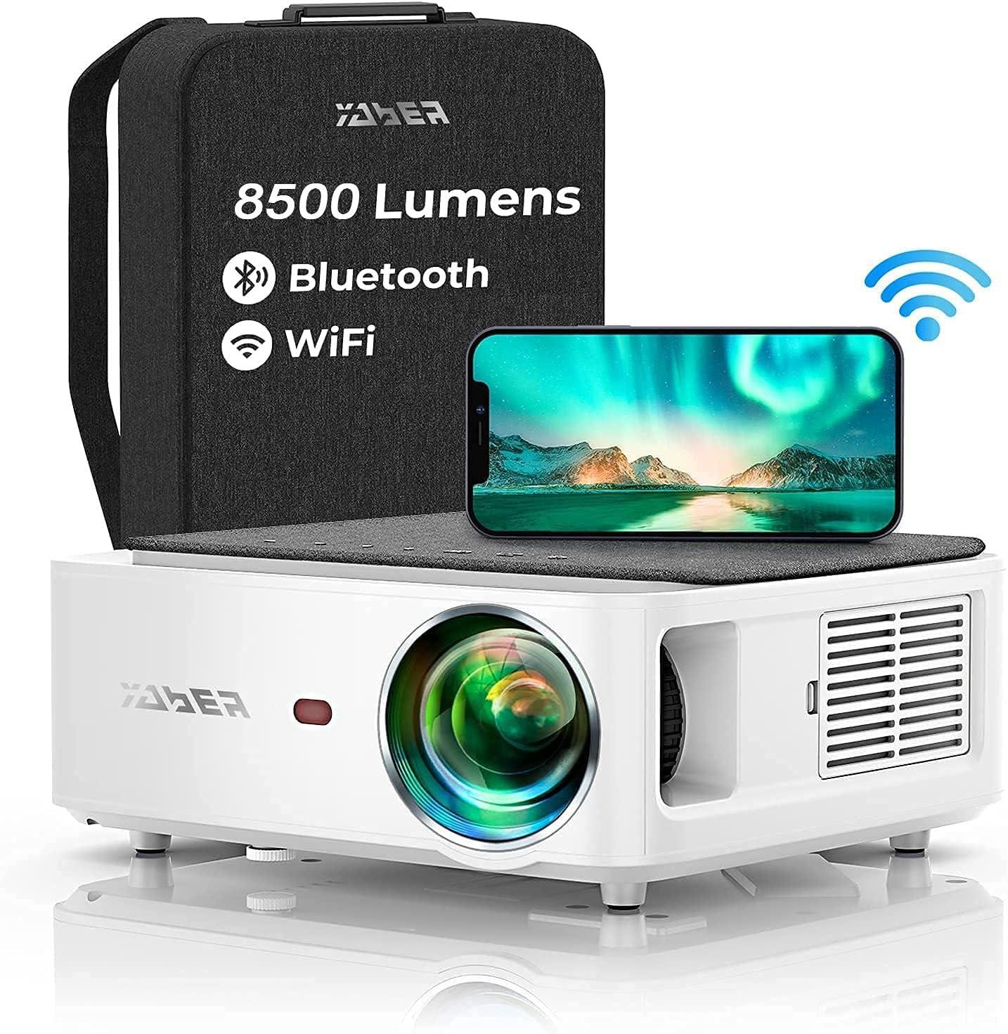Proyector WiFi Bluetooth 1080P, YABER V6 8500 Lúmenes Proyector WiFi Full HD 1080P Nativo Soporta 4K, Ajuste Digital de 4 Puntos, Proyector Portátil Zoom -50%, Proyector LED para Cine en Casa y PPT