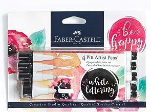 Faber-Castell White Pitt Artist Pen Set - 4 Opaque White India Ink Artist Markers - Lettering and Illustration Marker Set