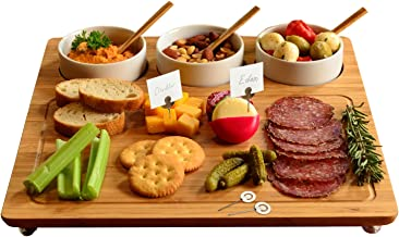 """Picnic at Ascot Bamboo Cheese Board/Charcuterie Platter - Includes 3 Ceramic Bowls with Bamboo Spoons & Cheese Markers -13""""x 13""""- Designed and Quality Checked in the USA"""