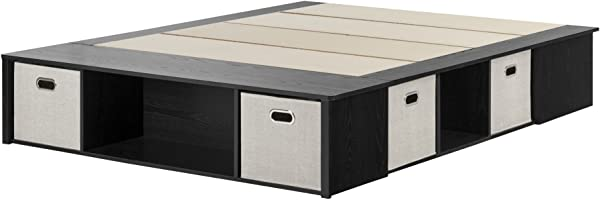 South Shore Flexible Platform Bed With Storage And Baskets Queen 60 Inch Black Oak