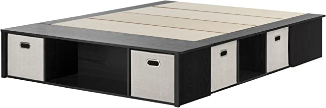 South Shore Flexible Platform Bed with Storage and Baskets, Queen 60-Inch, Black Oak