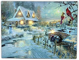 BANBERRY DESIGNS LED Canvas Art Print Wall Decoration - Village Cottages Along a Stream Christmas Scene with Cardinals and Snowman - Old Fashioned Cobblestone Bridge - 11.75 x15.75 Inch