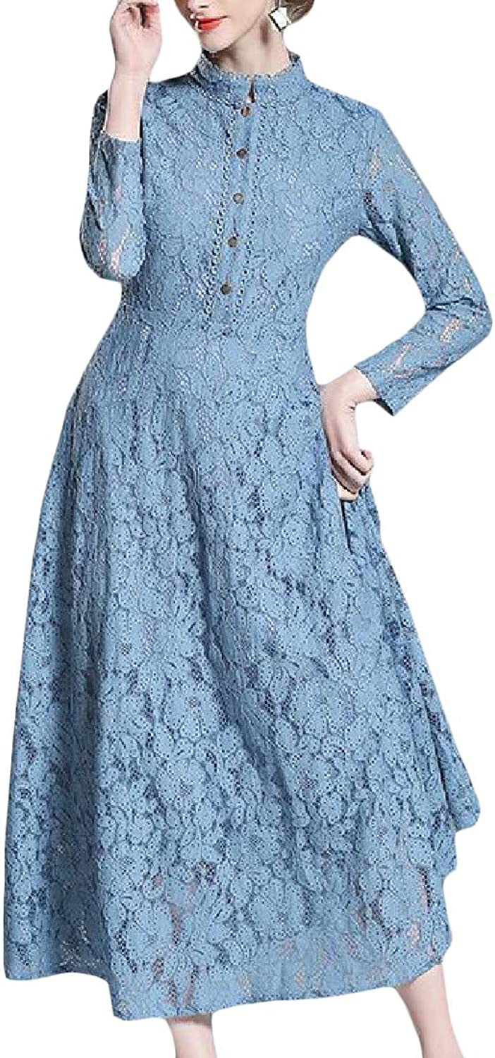 Sweatwater Women's Lace Big Pendulum Vogue Casual Pleated Long Party Dress