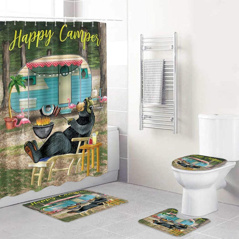 HASENCIV 4 Pcs Shower Curtain Ru Non-Slip discount Waterproof Sets with Popular brand in the world
