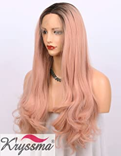 K'ryssma Orange Pink Lace Front Wig Ombre - Dark Brown Roots #4 to Mixed Rose Pink Long Natural Wavy Gluless Synthetic Wigs for Women Middle Parting Replacement Full Wig 22 inch (B010500)