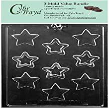 CybrTrayd M241 Star Assortment Chocolate Mold (Bundle of 3), Clear