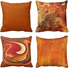 Emvency Set of 4 Throw Pillow Covers Burnt Orange Abstract Red 20 Tan Funky Watercolor Grunge Monochrome Decorative Pillow Cases Home Decor Square 18x18 Inches Pillowcases