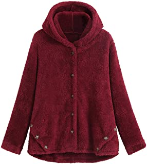 SHUSUEN Fashion Women Button Coat Fluffy Tops Hooded Pullover Loose Sweater