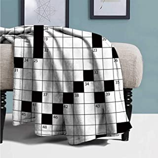 YOLIYANA Word Search Puzzle Stylish Blanket,Blank Newspaper Style Crossword Puzzle with Numbers in Word Grid Decorative for Bedroom,59''Lx79''W