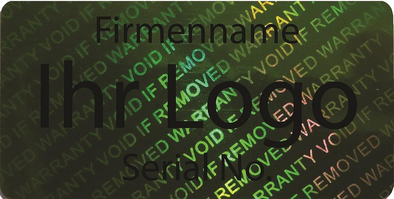 EtikettenWorld BV, EW-H-2700-67-ts-700, 700 Stück Hologrammaufkleber, 2D, 20x40mm grünfarbige Metallfolie, bedruckt in schwarz mit Ihrem Wunschtext Logo, Hologramm Etiketten, selbstklebend, Hologramm Aufkleber, Sicherheitssiegel, Garantiesiegel,