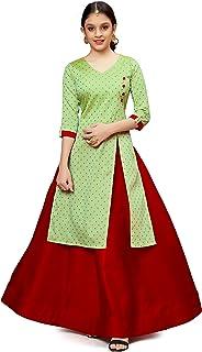 Fashion Dream Girl's Jacquard Silk Readymade Side Slit Kurta with Lehenga
