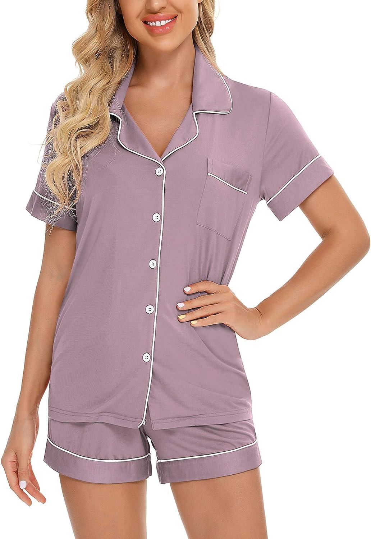 Samring Women's Button Down Pajama Max 82% OFF Short Manufacturer direct delivery Sleep Set Sleeve V-Neck