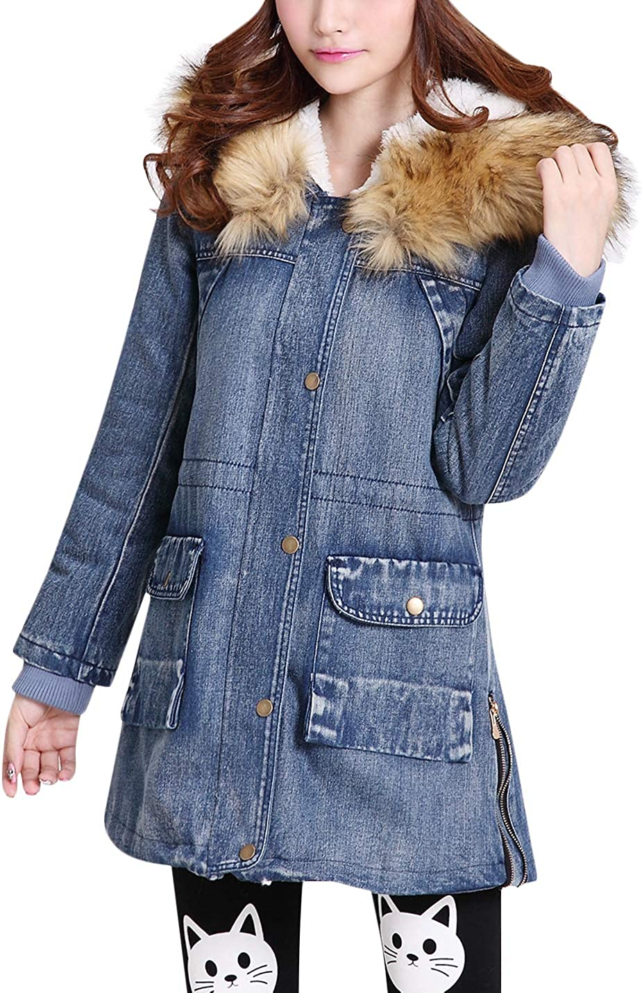 Uaneo Women's Winter Warm Hooded Sherpa Lined Long Denim Jacket Coat with Trim (Yellow, Large)