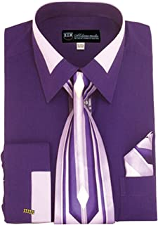 Milano Moda Men's Fashion Dress Shirt With Contrast Design Tie Hankie & Cuffs