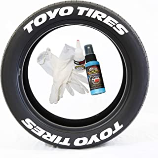 Tire Stickers Toyo Tires Tire Lettering Add-On Car Accessory - DIY Kit with Glue & 2oz Touch-Up Cleaner / 17-18 Inch Wheels / 1.25 Inches/White / 8 Pack