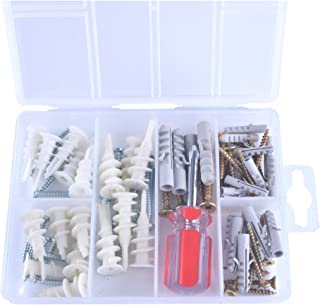 Heavy Duty Fastener 50 75 LBS Drywall Hardware Assorted #6 #8 #10 Kit. Nylon Threaded Self Drilling & Hollow Plastic Anchors Screws Assortment Set Wall Curtains Furniture Shelving Blinds Screw Driver.