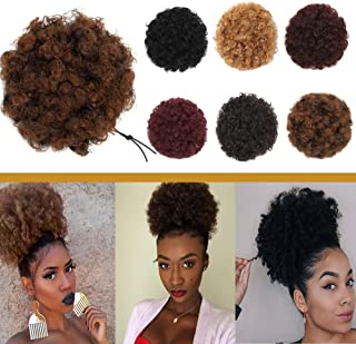 Afro Kinky Curly Hair Bun Drawstring Puff Ponytail for African American Women Short Synthetic Wrap Updo Hairpiece with Clips One Piece Ginger